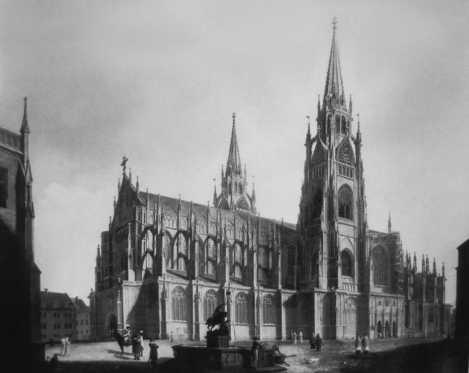 Der Veitsdom mit zwei ausgebauten Türmen nach Ideen des Künstlers Ludwig Kohl von 1861.