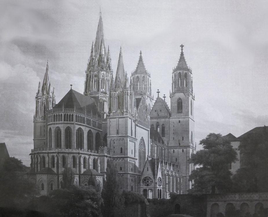 Magdeburg. Dom. Perspektive zur Ostansicht mit fünf Türmen. > Matthias Walther > Architekturcollage