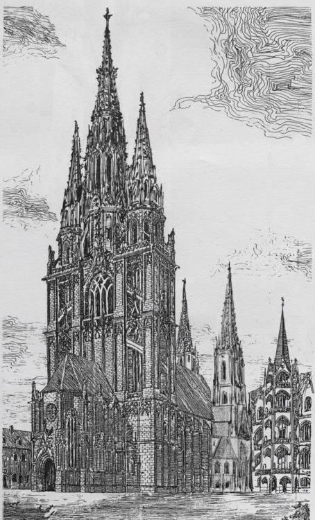 Der Entwurf behandelt die Variation einer Dreiturmfassade aus Stein mit durchbrochenen Helmen gegenüber dem ausgeführten Zweiturmentwurf Schäfers. > Matthias Walther > Architekturcollage