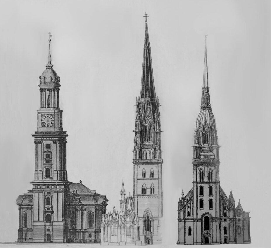 Hamburg St. Jacobi mit neuem Turm im Vergleich mit St. Michael > Matthias Walther > Architekturcollage