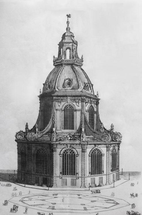 Perspektivische Ansicht der Postkerk nach den veränderten Plänen ausgehend von Nikolas Listingh > Matthias Walther > Architekturcollage
