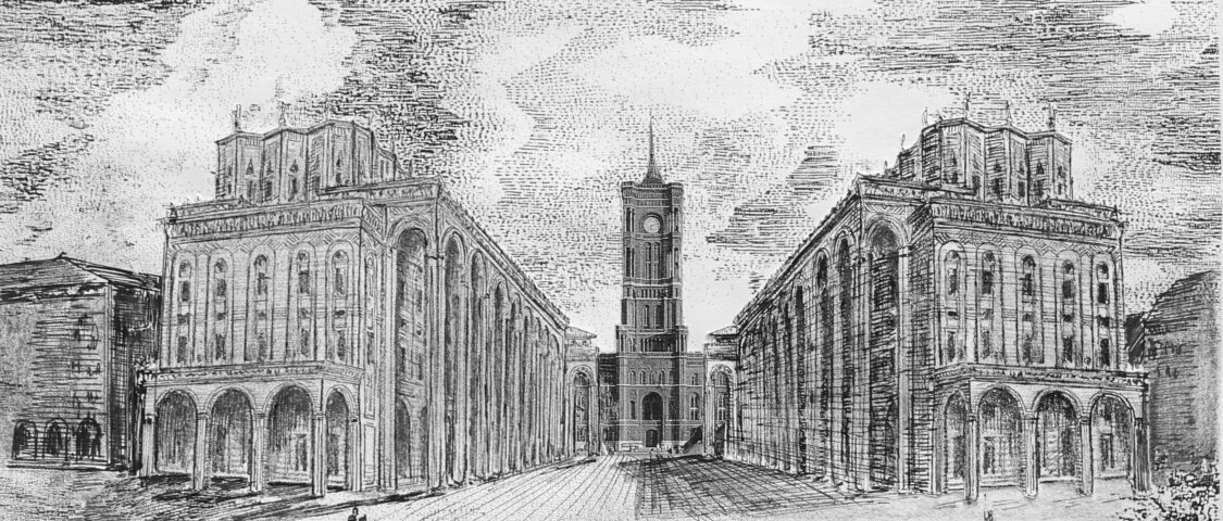 Zwischen der Marienkirche und dem Roten Rathaus ensteht eine Straße mit Arkadenhäusern in Art der Uffizien von Florenz. > Matthias Walther > Architekturcollage