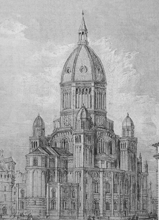 Hamburg Entwurf zu St. Nicolai von G. Semper. Perspektive mit erhöhter Kuppel und erhöhten Seitentürmen sowie veränderter Brüstung an der Basis des Tambours. > Matthias Walther > Architekturcollage