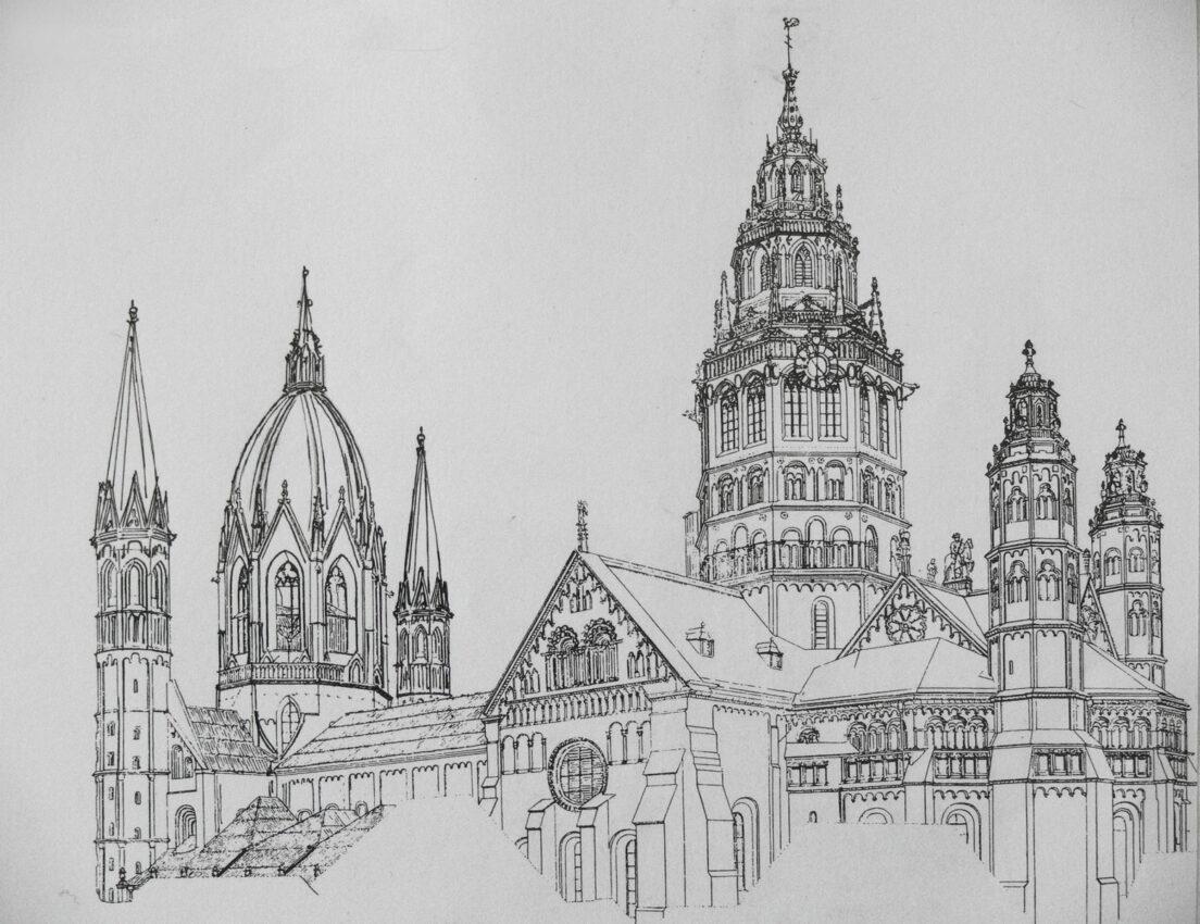 Mainz. Dom. Ansicht von Nordwest mit der neuen Kuppel über der östlichen Vierung.