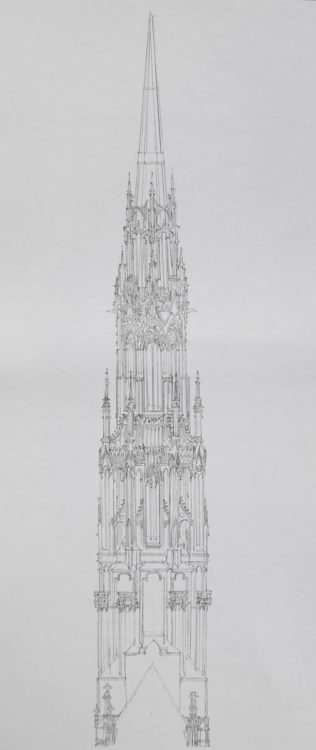 Antwerpen Kathedrale. Möglicher Vierungsturm Ansicht eines früheren Entwurfs