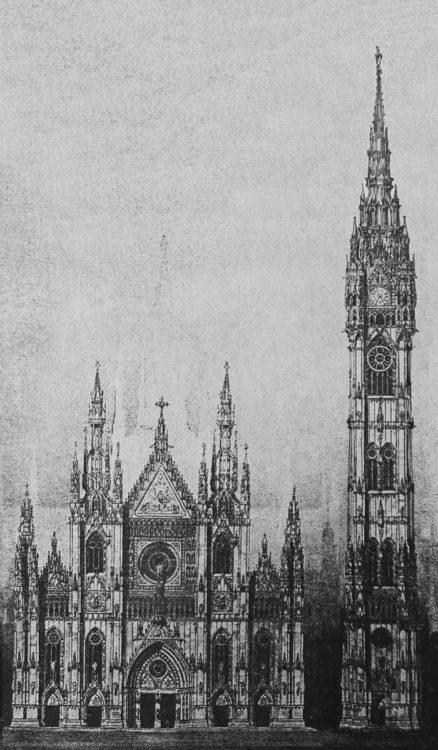 Mailand. Dom mit hohem Glockenturm. Dieser Turm erreicht 150 Meter Höhe und hat gegenüber dem Plan Berlages eine erhöhte Spitze.