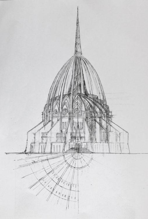 Rio de Janeiro. Kathedrale. Aufriss der Kuppel mit den Paraboldächern über dem Innenraum.