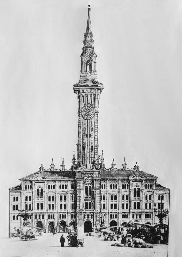 Triest. Rathaus mit hohem Mittelturm als Glockenturm und weit sichtbare Landmarke.