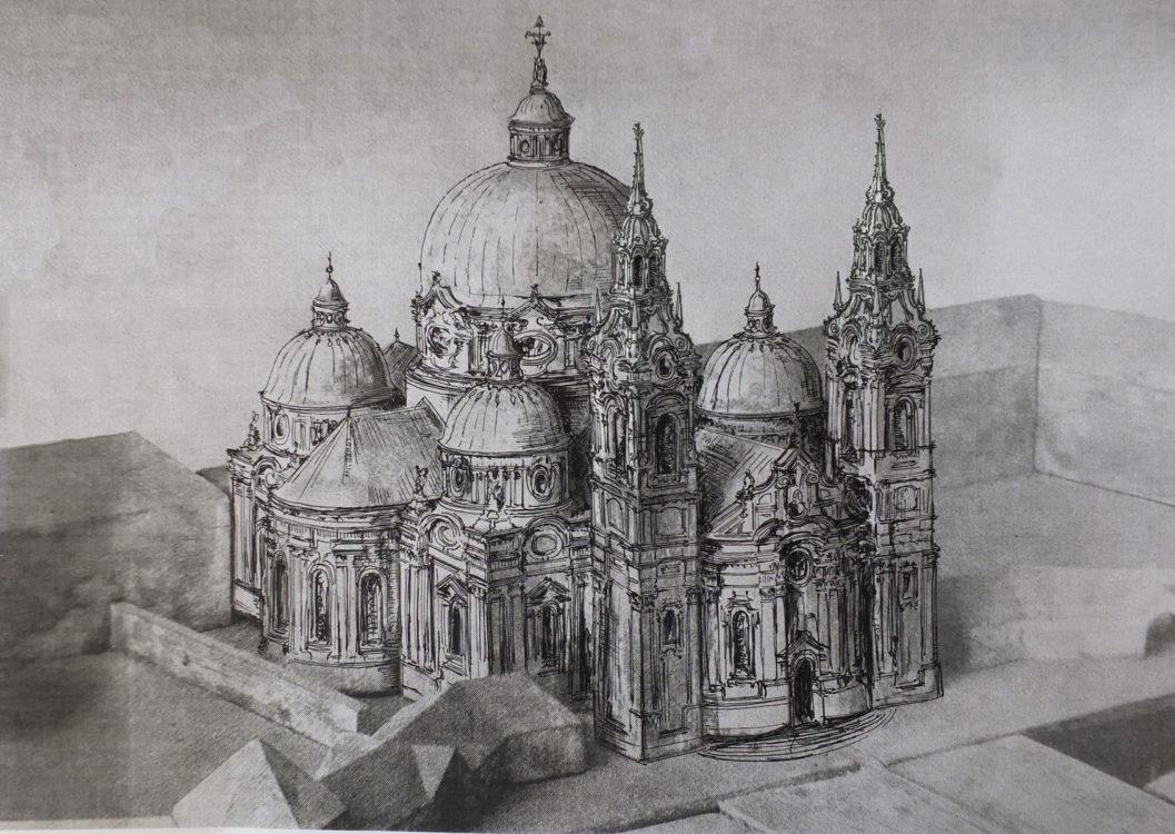 Gran/Esztergom. Früher Entwurf zu einem barocken Bau unter Einbeziehung der älteren Renaissancekapelle.