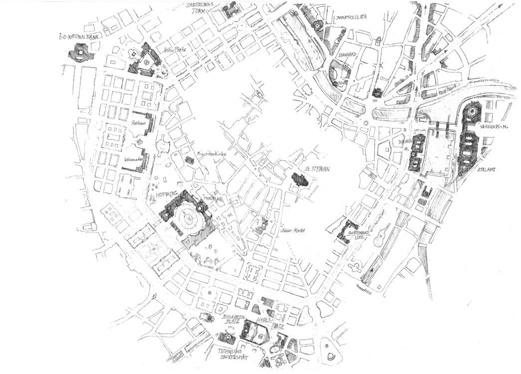 Stadtplan mit dunkel hervor gehobenen Änderungen