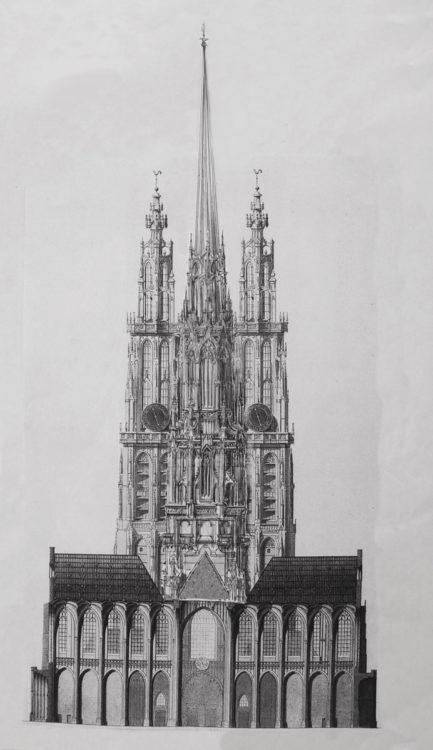 Antwerpen Kathedrale. Vierungsturm von Osten mit der vervollständigten Westfassade.