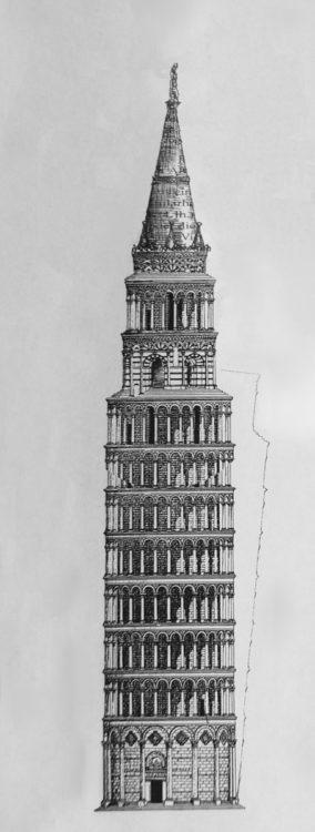 Pisa, Dom. Ansicht des begradigten Turmes mit den weiteren Geschossen und dem Kegeldach