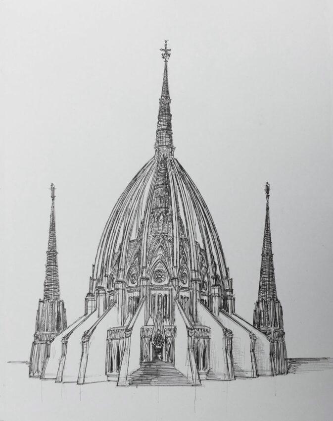 Rio de Janeiro. Kathedrale. Perspektivische Ansicht mit den hinzu gedachten Glockentürmen.