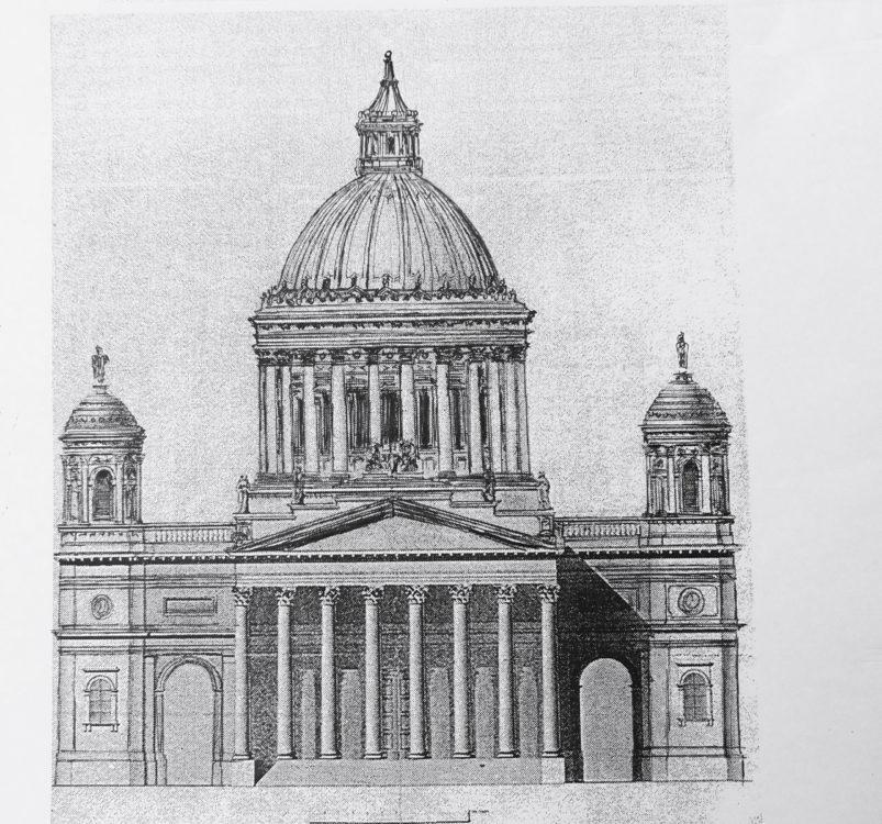 Gran/Esztergom. Später Entwurf wie ausgeführt aber mit veränderter Kuppelschale und Türmen.