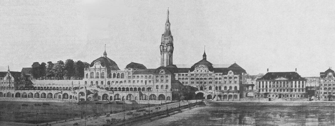 Zürich. Stadthauskomplex als neues Rathaus an der Limmat mit hohem Glockenturm.