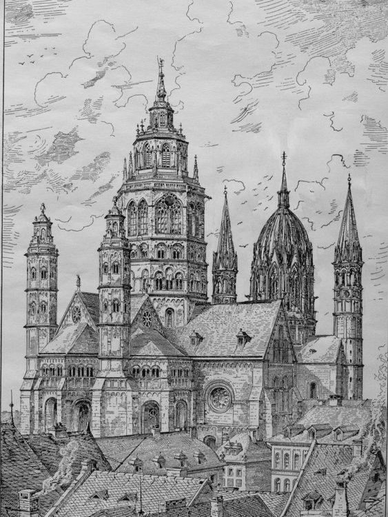 Mainz. Dom. Ansicht des Domes von Westen mit den beiden Türmen.