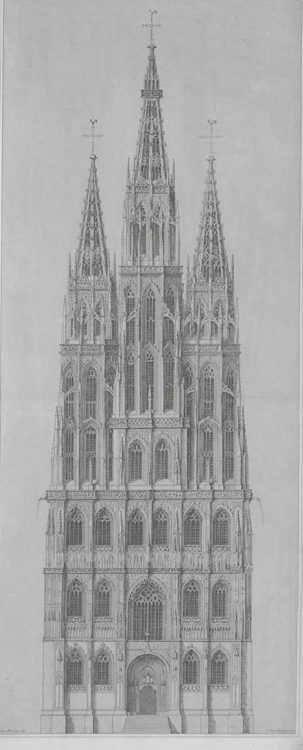 Löwen. Dreiturmfassade mit hohem Mittelturm, der gegenüber dem früheren Originalplänen etwas niedriger ausgeführt ist.