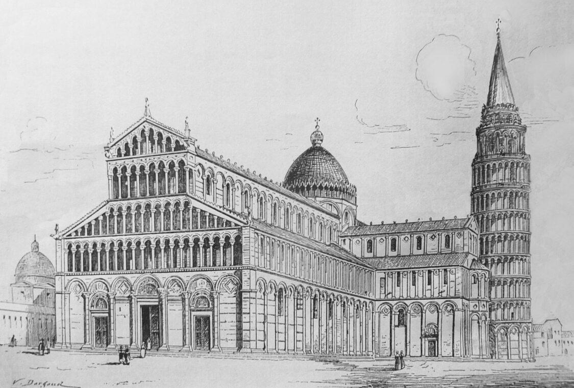 Pisa, Dom. Perspektivische Ansicht des Dombezirks mit dem ausgebauten Turm von Pisa
