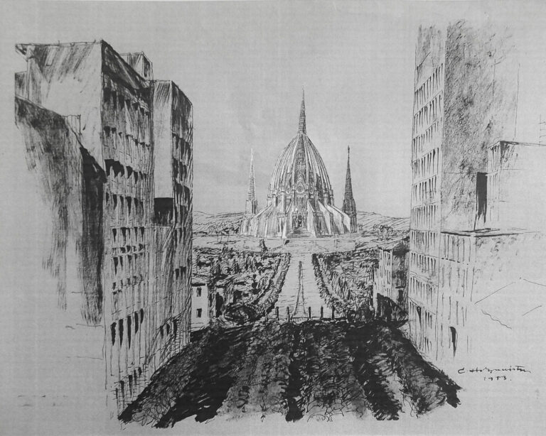 Rio de Janeiro. Kathedrale. Avenida mit Aussicht auf die Kirche auf sanfter Anhöhe.