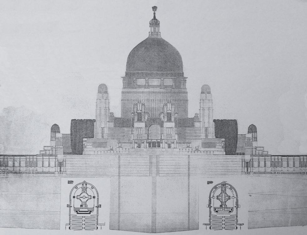 Triest. Nekropole über der Stadt von Emil Pirchan, 1907 geplant in Formen der Wiener Schule Otto Wagners.