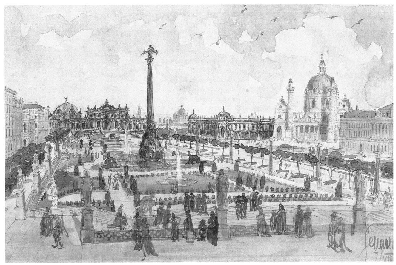 Karlsplatz mit Gartenanlage und Belvedere