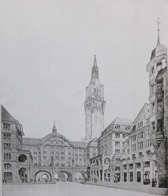 Zürich. Städtisches Verwaltungszentrum an der Limmat, gesehen vom Innenhof aus.