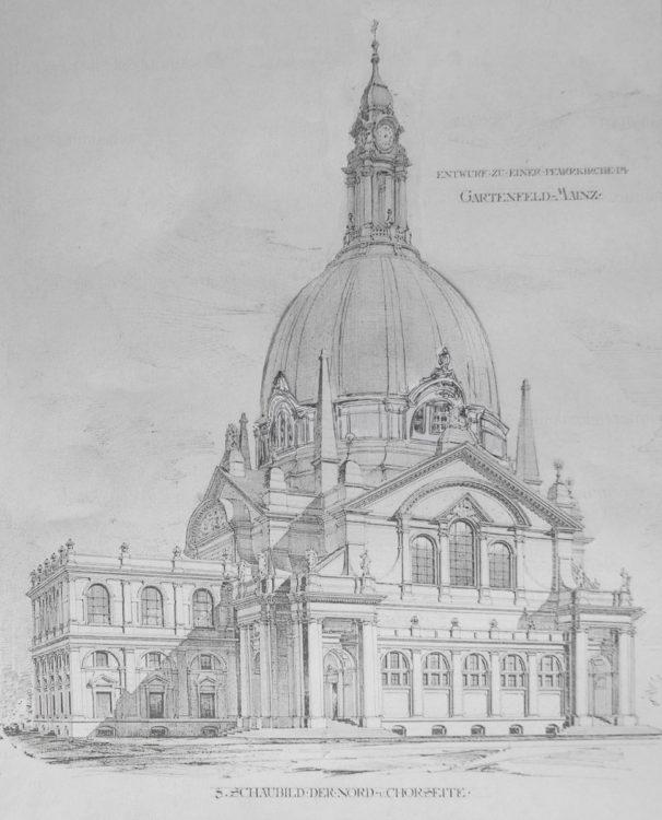 Mainz. Katholische Kirche im Gartenfeld mit erhöhtem Kuppeltambour.