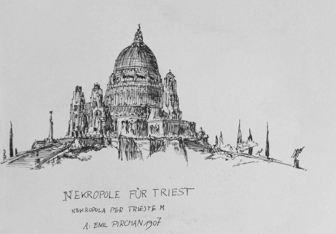 Triest. Nekropole über der Stadt von Emil Pirchan, gesehen in einer perspektivischen Ansichtsskizze.