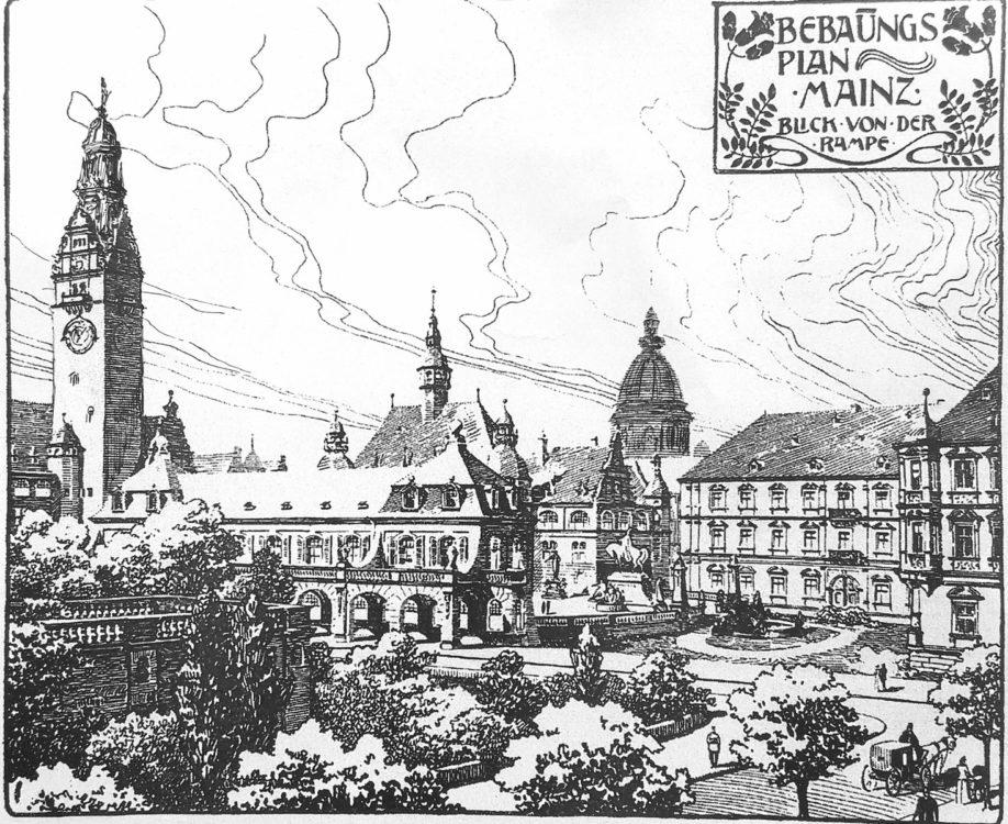 Mainz. Neues Verwaltungszentrum mit Rathaus. Im Hintergrund die Christuskirche.