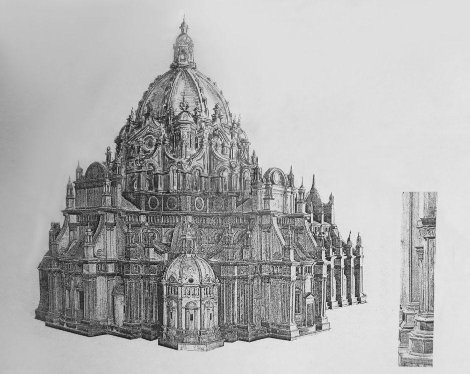 Pavia, Dom. Ausführung der Kuppel nach Ideen von Leonardo da Vinci