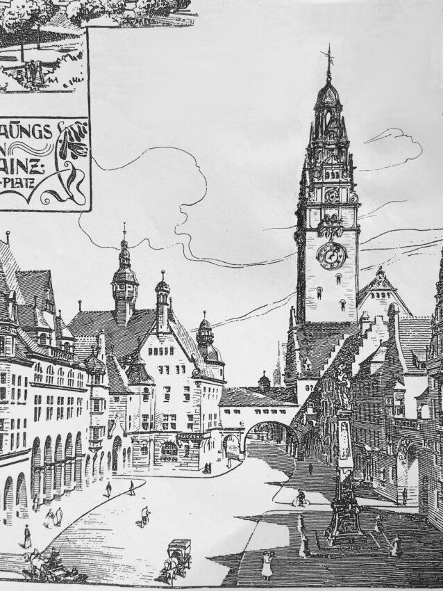 Mainz. Neues Verwaltungszentrum mit Rathaus. Blick stadteinwärts Richtung Dom.