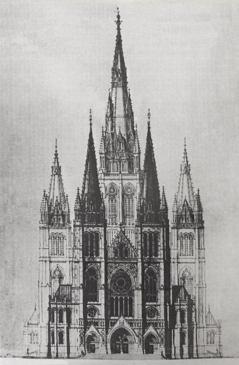 Brüssel. Siebentürmiger Gesamtplan der Herz-Jesu-Kirche auf dem Koekelberg in Brüssel. Der Vierungsturm erreicht die Höhe von fast 160 Metern.