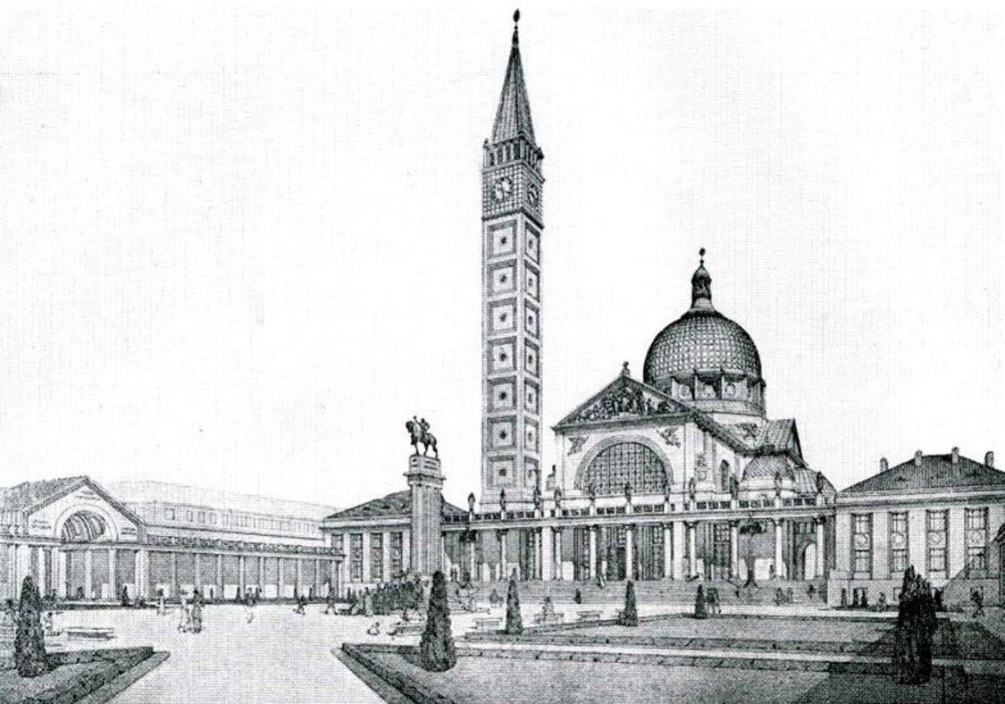 Fiume/Rijeka: Votiv-Kirchenbau St. Romuald über der Stadt mit teilvergoldeter Kuppel und Glockenturm. Entwurf von Anton Engel aus Prag.