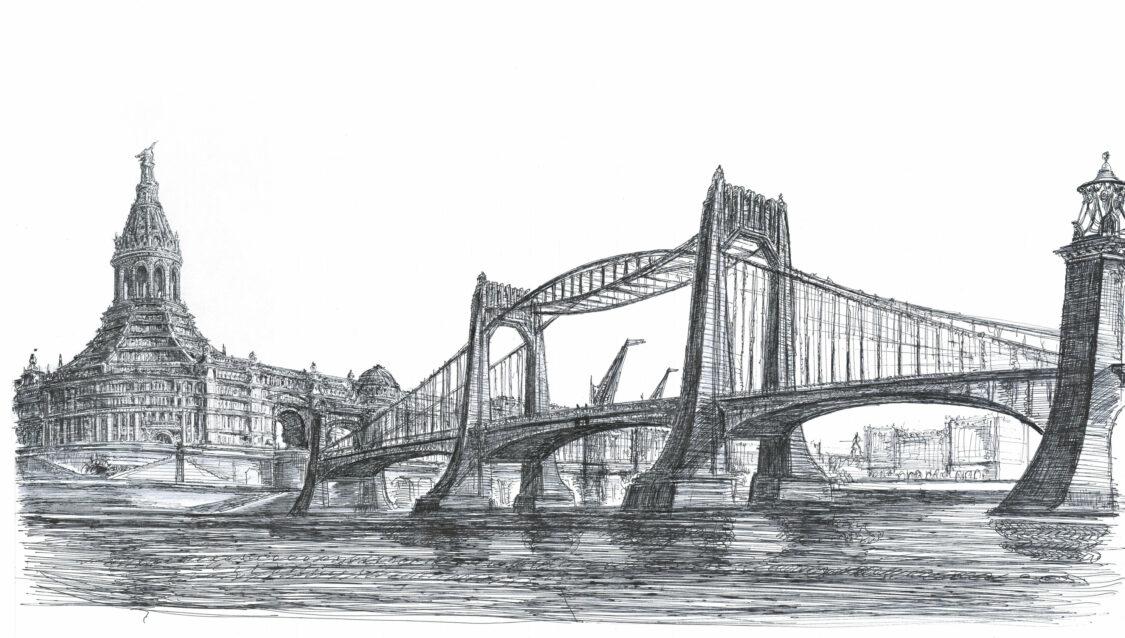 Stadthafenanlage mit BrückeStadthafenanlage mit Brücke