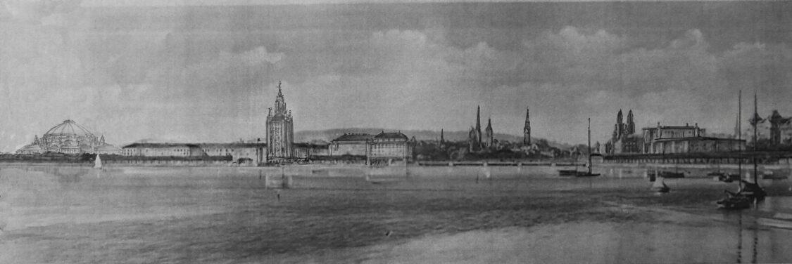 Zürich. Ansicht der neuen Uferbebauung des Sees vom Südufer.