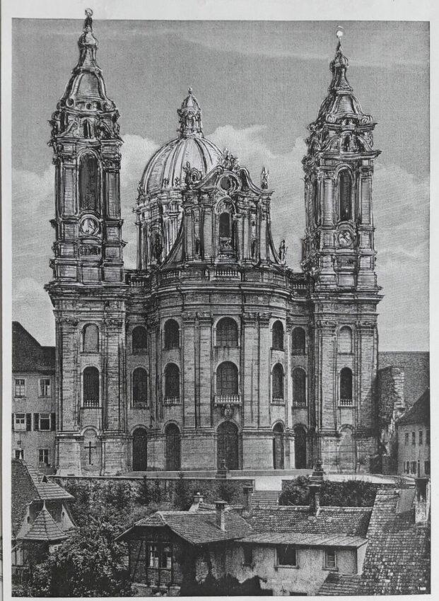 Die mächtige Abteikirche von Weingarten nahe dem Bodensee besitzt eine der größten europäischen Barockdome. Hier erscheint der Bau allerdings mit wie ursprünglich geplant erhöhter Kuppel und höheren Türmen noch imposanter.