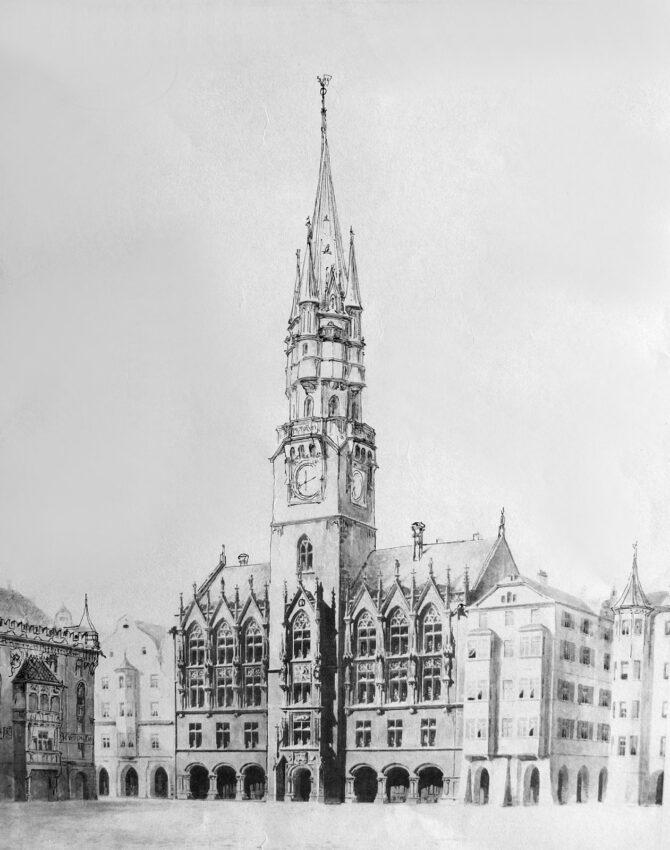 Erweitertes Rathaus mit gotischem Turm