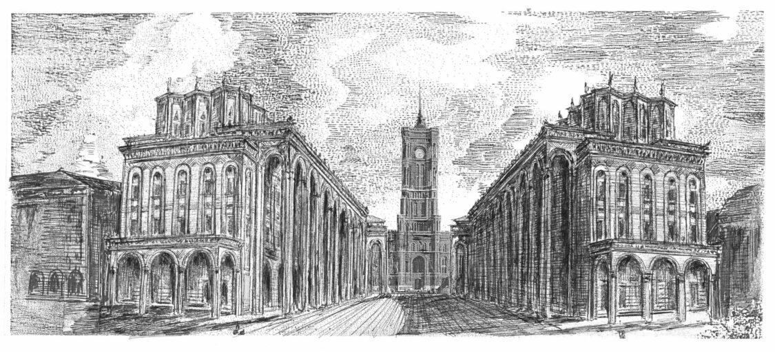 Zwischen der Marienkirche und dem Roten Rathaus ensteht eine Straße mit Arkadenhäusern in Art der Uffizien von Florenz.