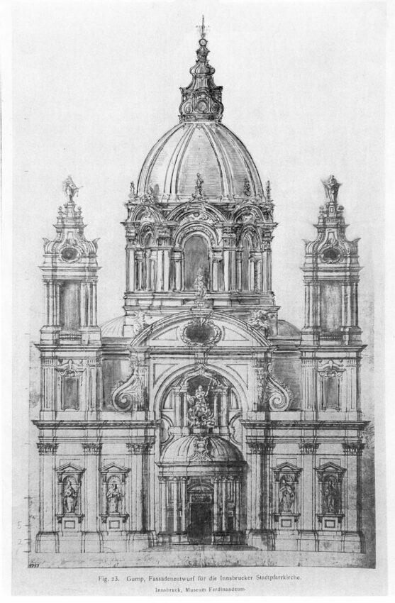 Fassadenplan der Domkirche St. Jacob nach Gump
