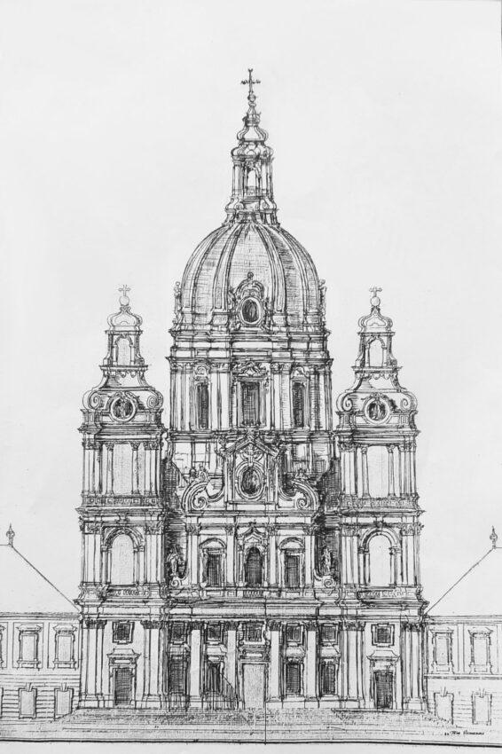 Göttweig. Die zentrale Kirche, ein Tonnengewölbter Saalraum, ist hier in vollendeter Form dargestellt mit ausgebauten Türmen und kompletten Langhaus, über dessen Querung sich eine hohe Vierungskuppel erhebt.