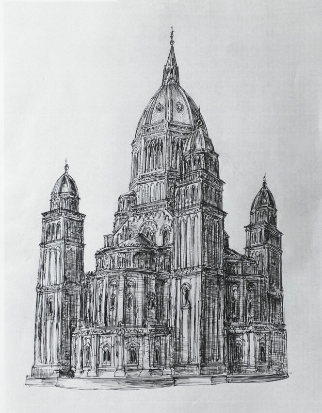 Hamburg Entwurf St. Nicolai von G. Semper. Skizze der Kirche ebenda