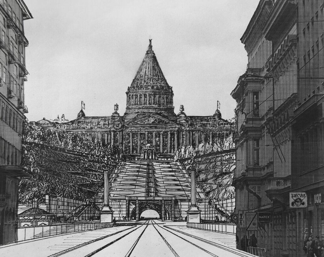 Prag. Neues tschechisches Parlamentsgebäude mit Kegelförmiger Kuppel. Gedacht auf den Letna-Höhen in der Achse der Revolutionsstraße.