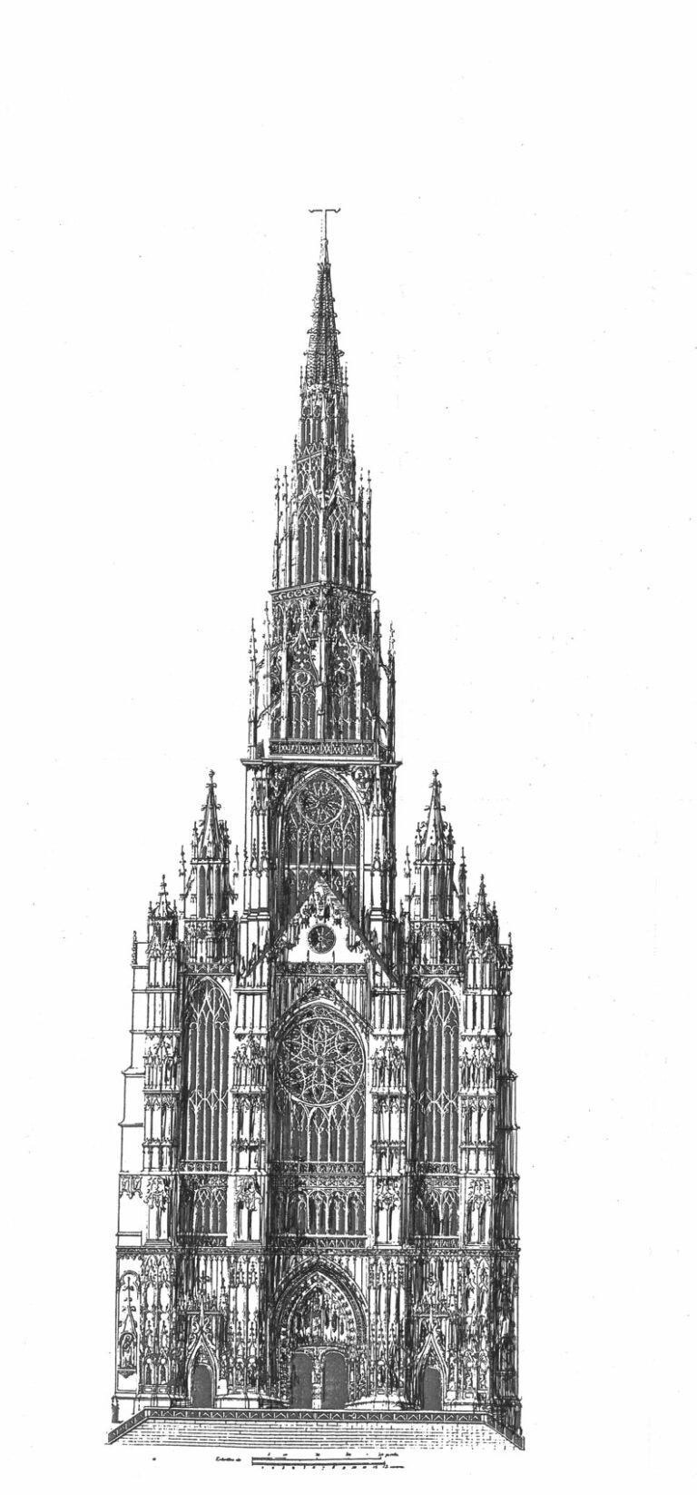 Kathedrale von Beauvais mit vollständig ausgebautem Vierungsturm und dem Langhaus mit den stumpf geplanten Westtürmen. Fassadenentwurf von