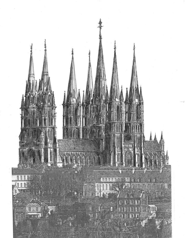 Kathedrale von Laon mit vollständig ausgebauten Türmen mit hölzernen Helmen