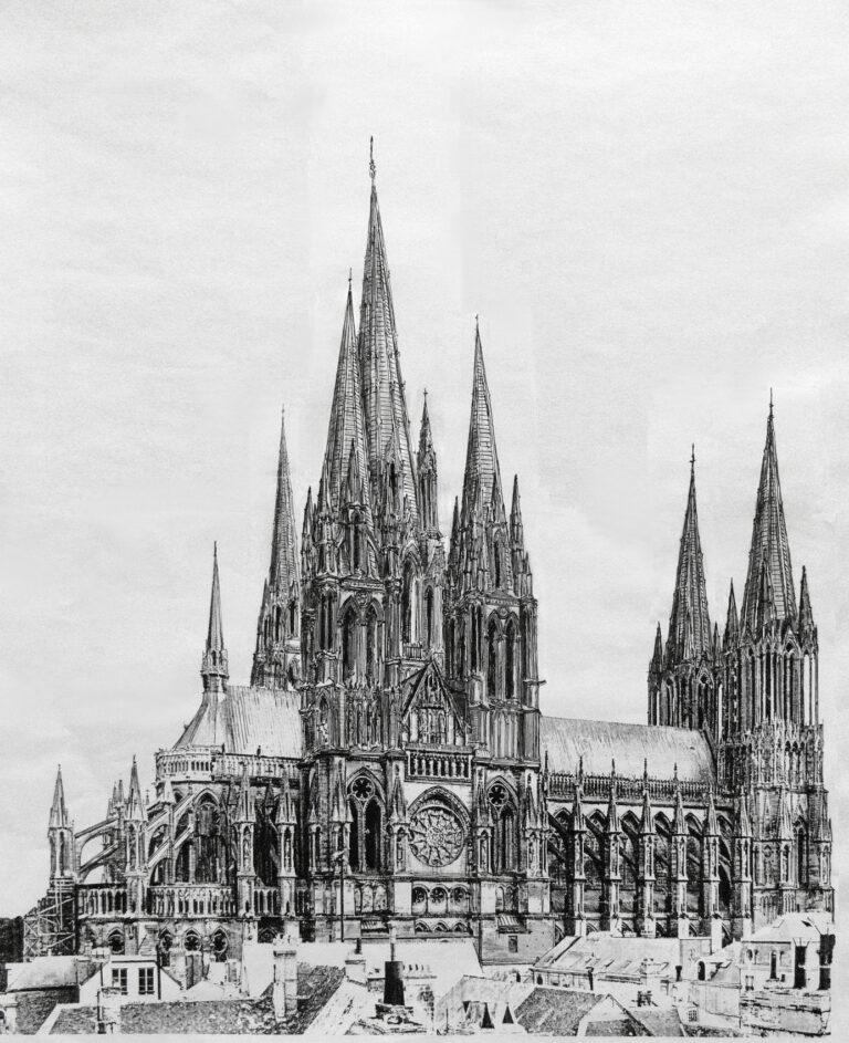 """Kathedrale von Reims mit Türmen nach Viollet-le-Ducs Entwurf zur """"Cathedrale ideale"""""""