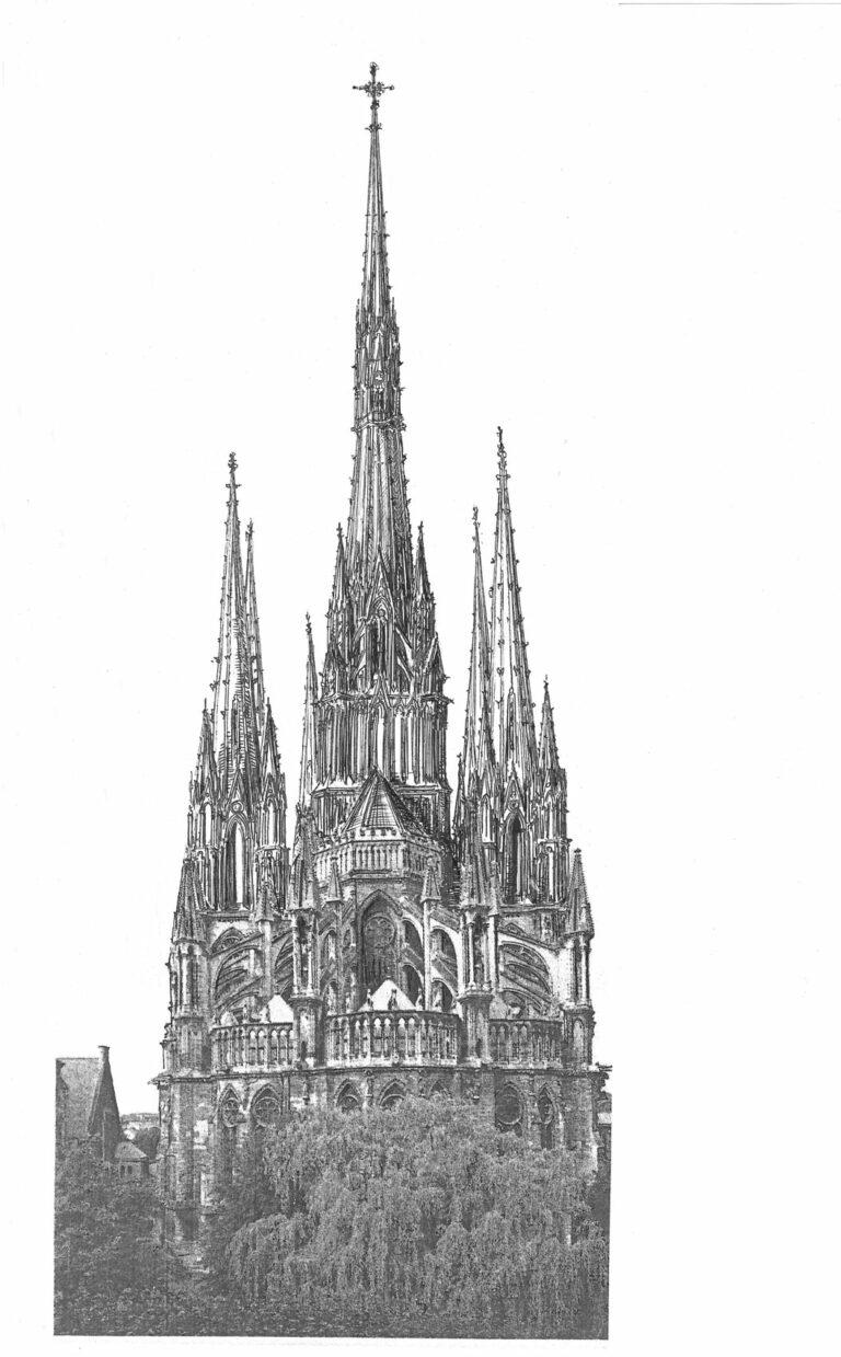 Kathedrale von Reims mit vollständig ausgeführten Türmen, wie sie noch im 16. Jahrhundert geplant waren. Ansicht von Osten.