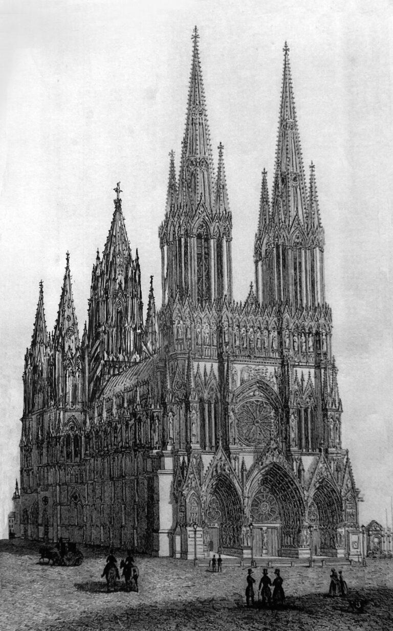 Kathedrale von Reims mit vollständig ausgeführter Turmgruppe in steinernen Formen. Ansicht von Westen.