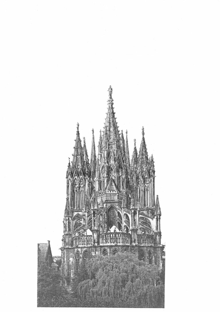 Kathedrale von Reims mit vollständig ausgeführter Turmgruppe in steinernen Formen. Ansicht von Osten.
